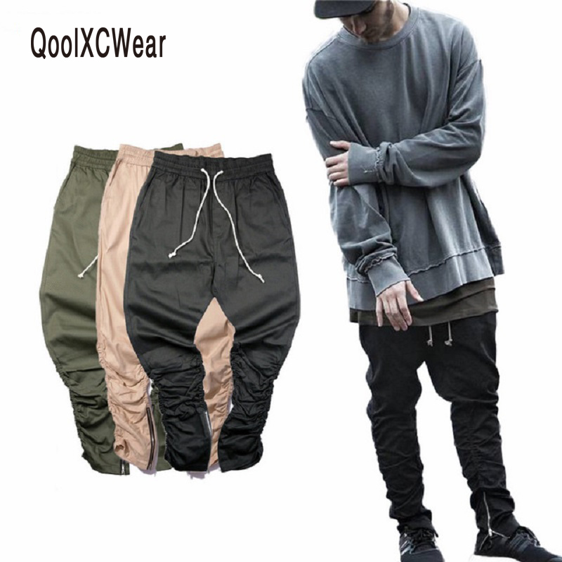 QoolXCWear Justin Bieber Brand Side Zipper Men Slim Fit Casual Mens Hip Hop Jogger Biker Pants Swag Sweatpants Skinny Trousers