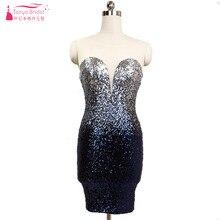 b8db42bd6 Bling brillante vestidos De baile corto contraste colores Sequined sirena  especial Fiesta De la dama De
