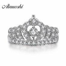 สัญญาหมั้นสาวแหวน น่ารักราชินีเจ้าหญิงมงกุฎหรูหราแหวน เงินสเตอร์ลิงแหวน 925