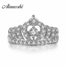 AINUOSHI Cute Queen Princess Crown Luxury Ring 925 Sterling Silver Tiara Ring Crown Engagement Promise Girl Ring Wedding Band