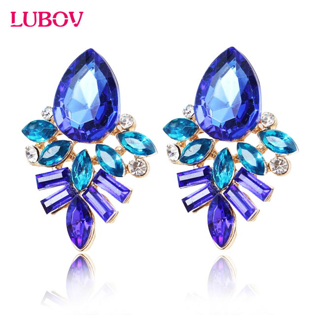 NEW Women Fashion Jewelry Style Blue/Black/Pink Earrings Handmade Rhinestone sweet stud crystal  earrings for women girl