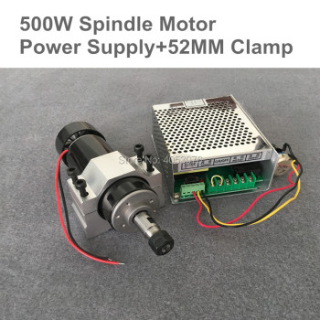 0.5kw Air cooled spindle ER11 chuck CNC 500W Spindle Motor + 52mm clamps + Power Supply speed governor For PCB Engraving