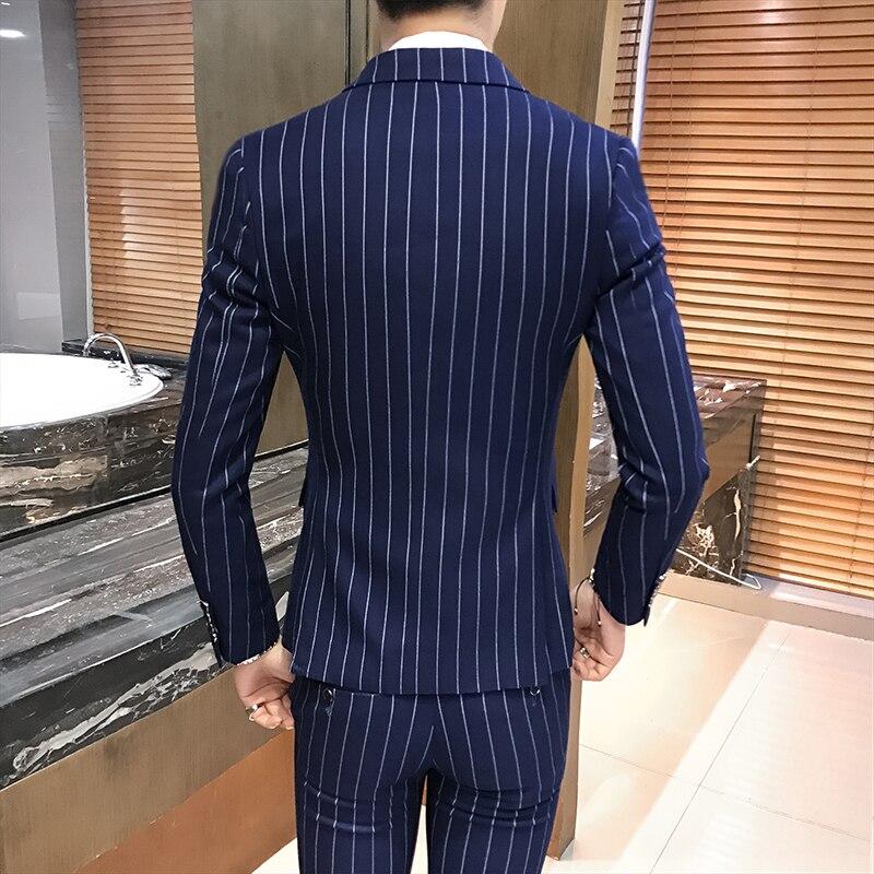 Qualité Slim Double Breasted Marque Marine Rayé Q8 Noir De Pour Haute 3 Fit Hommes 2019 Bleu marine gris Pièces Mariage Gris Costume Costumes Noir 0PZ8XNnOkw