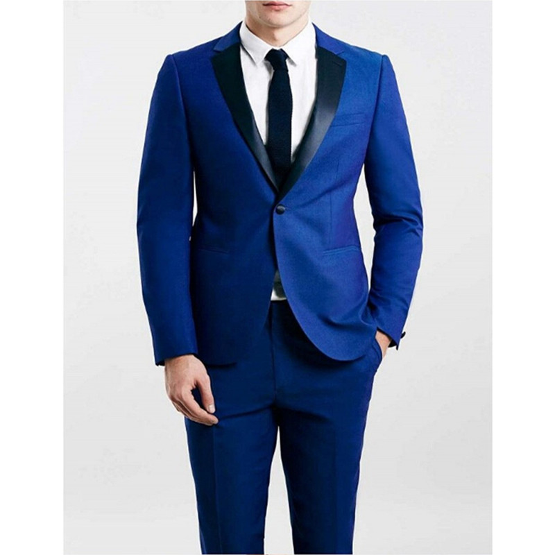 69 Custom Made Groomsmen Notch Black Lapel Groom Tuxedos Royal Blue Mens Suits Wedding Best Man (Jacket+Pants) B831