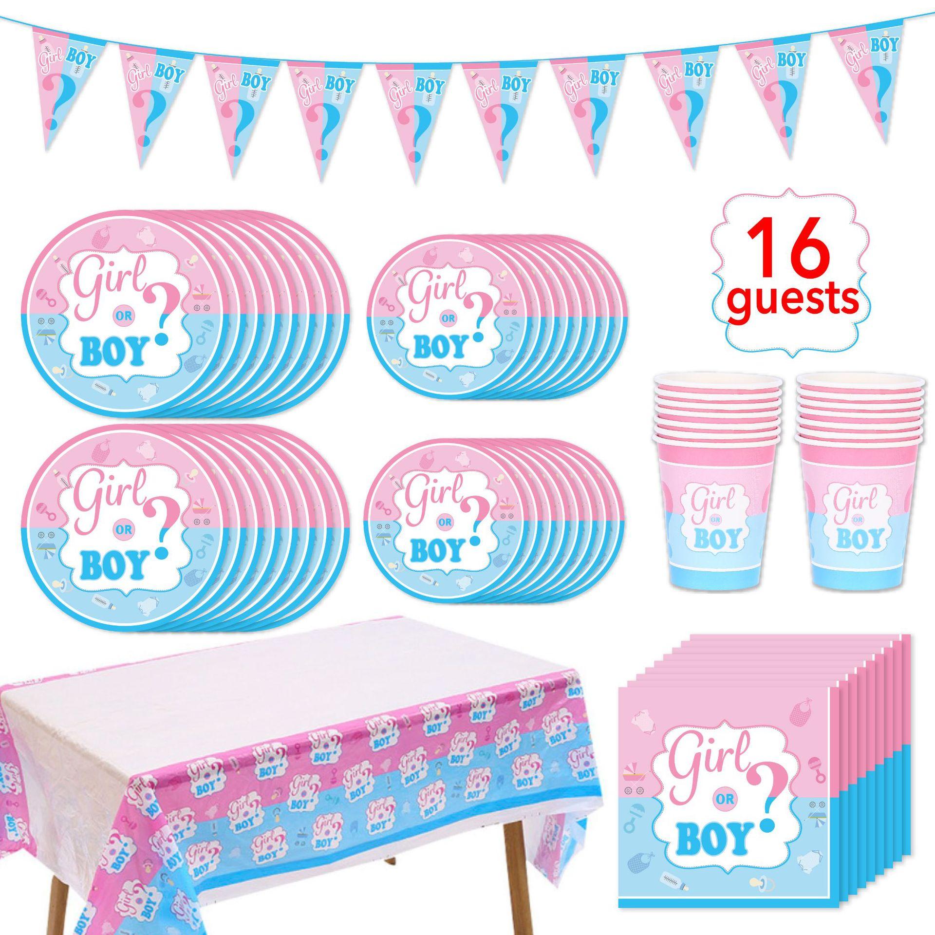 75pcs/set Gender Reveal Theme Paper Cup Plate Tableware Set Kids Girl Boy Favor Baby Shower Party Supplies Decoration