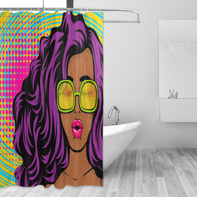 Colorful Different Custom African Woman Bathroom Curtain Waterproof Shower Polyester Fabric Bath With 12 Hooks
