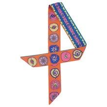 Silk Women Skinny Scarf Fashion Print Female Ribbon Hair Scarfs Tie Handbag Scarves Lady Neckerchief
