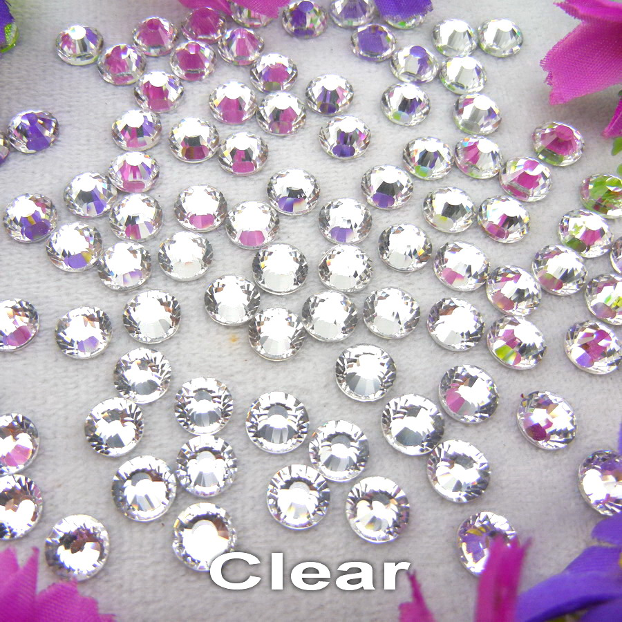 Shinning Non hotfix Clear color 13 sizes Flat Back glass Crystal Rhinestones Glue on Nail Art phone cover handicraft Diy