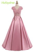 Pink Prom Dresses Long V Neck Lace Applique Short Sleeves Evening Gowns For Women Long Graduation