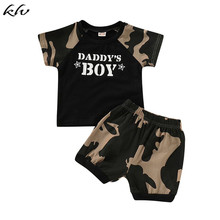 KLV 2PCS Toddler Baby Boys Camo Short Sleeve Tops T-Shirt + Shorts Pants Outfits Clothes Set