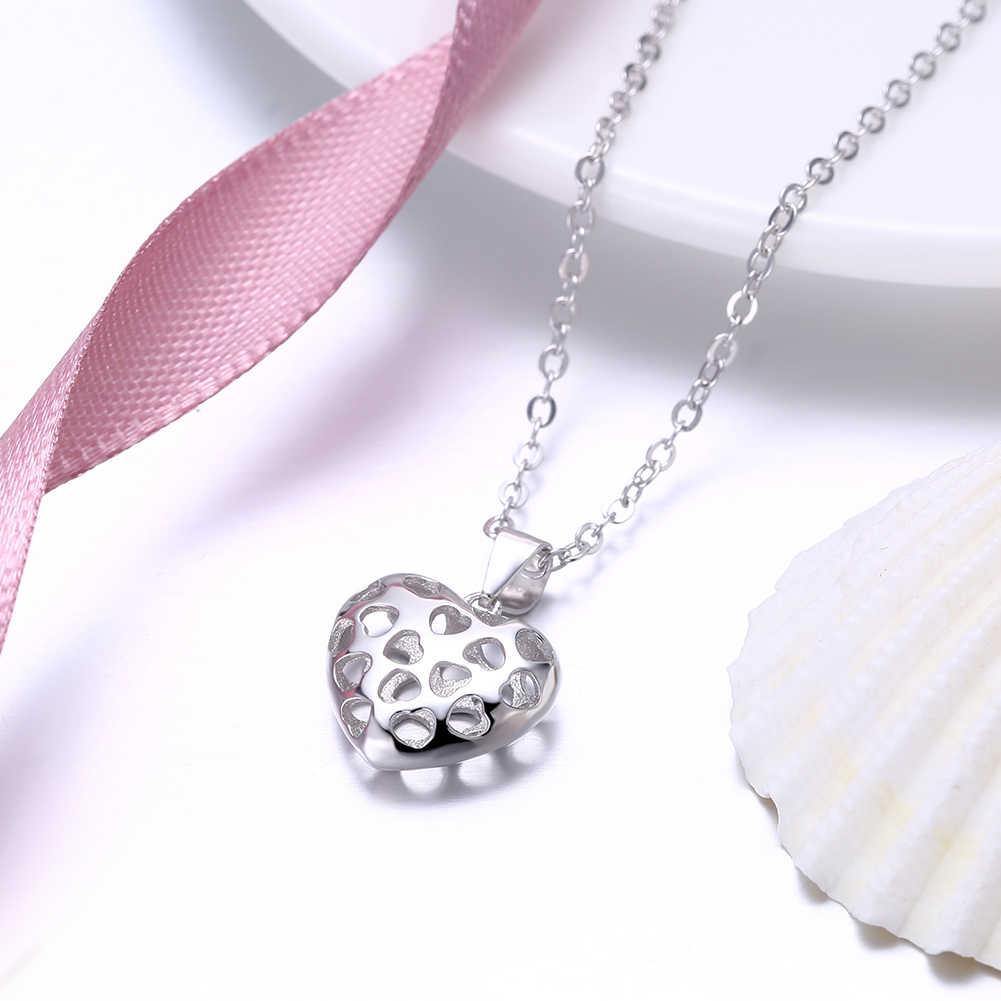 Pendentif creux en forme de coeur et colliers pour femmes romantique 925 bijoux en argent Sterling pour fiançailles (NE102407)