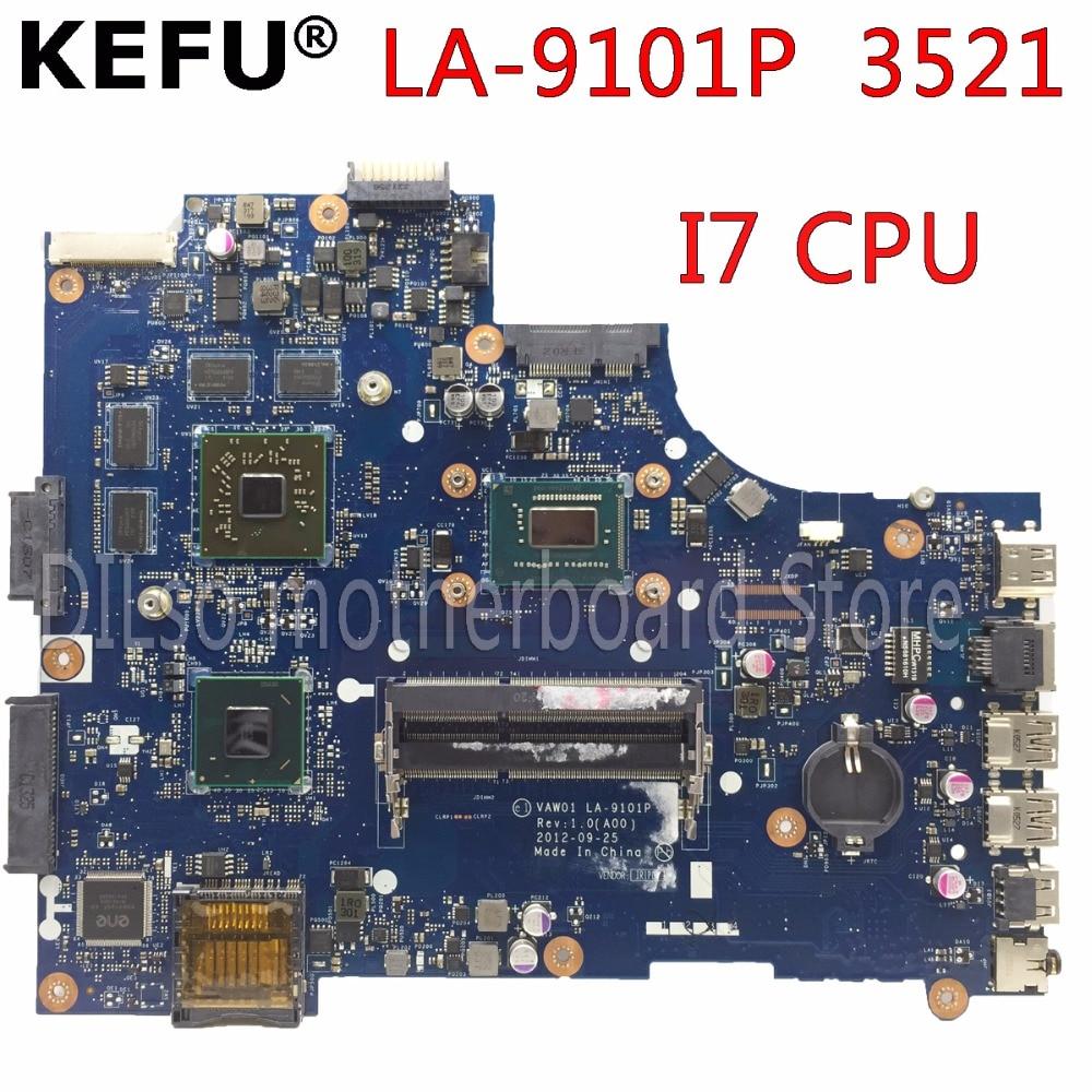 KEFU VW55C 0VW55C VAW01 LA-9101P motherboard FOR DELL INSPIRON 3521 5521 Laptop Motherboard I7 CPU PM Test motherboard kefu vaw00 la 9104p laptop motherboard for dell 3521 5521 test original mainboard i5 cpu pm