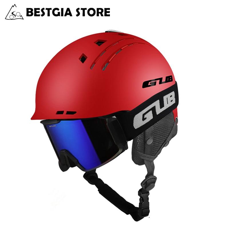 GUB New Skiing Helmet Sports Safety Ski Snowboard Helmet Ultralight Breathable Winter Skateboard Helmet For Men Women 58-60cm