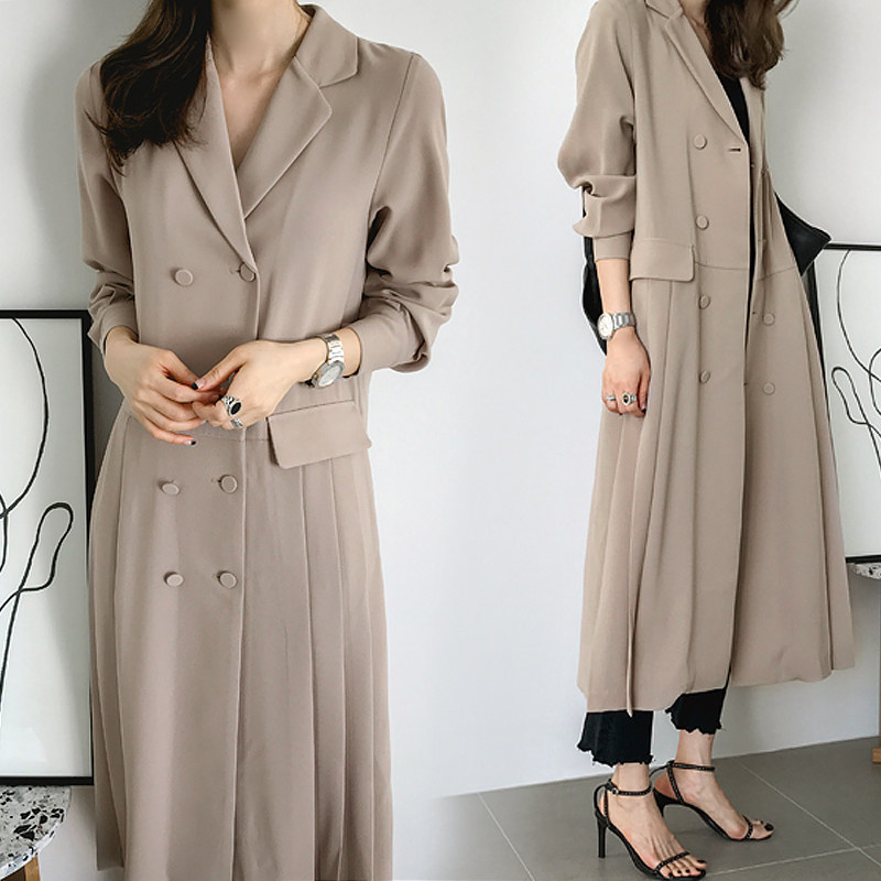 Fashion High Quality Long Sleeve Windbreaker Womens 2019 Spring Autumn Double Breasted Ruched Long Trench Coat for Women DS50722