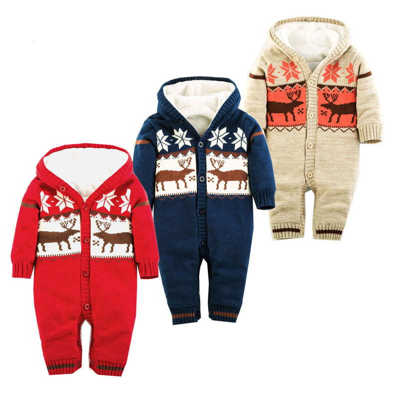 ФОТО Baby Rompers Winter Thick Climbing Clothes Newborn Boys Girls Warm Romper Knitted Sweater Christmas Deer Hooded Outwear V49
