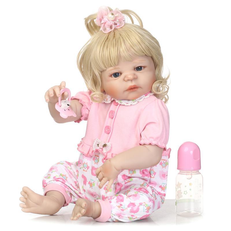 Новое поступление очаровательны Кукла реборн золотистые волосы Красивая моделирование Reborn Куклы младенцев для подарка полный винил Boneca ре