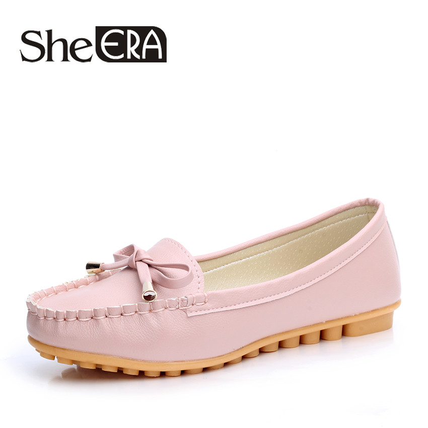 She Era 2017 New Arrival Women Flats Shoes Brand Women Shoes Sweet Bowtie Women Leather Shoes White/Black/Pink size 35-40