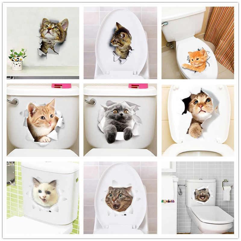 ビビッド 3d 穴猫犬動物のトイレステッカーホームデコレーション Diy Wc 洗面所 Pvc ポスター子猫子犬漫画壁アートデカール