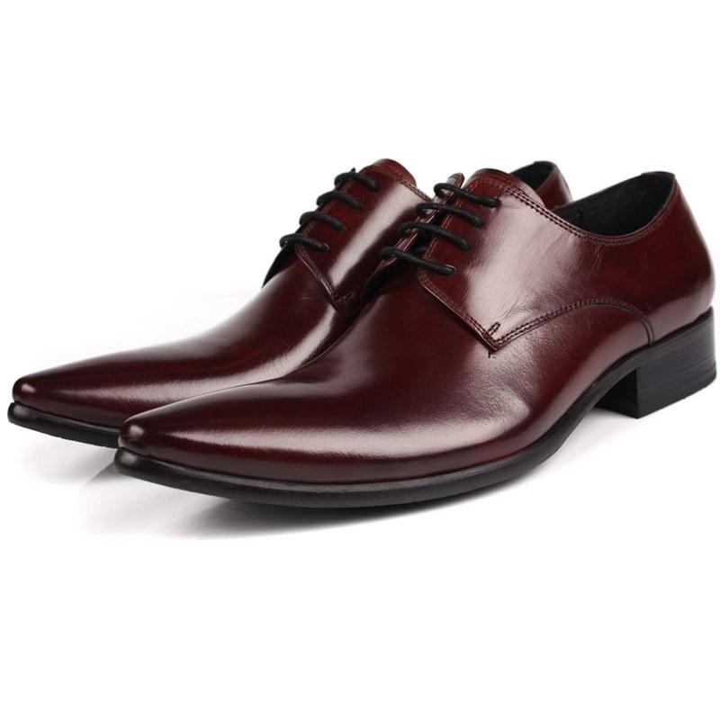 Para Punta Estrecha Zapatos Vestido Social Tinto Guapos Cuero Negro Hombre Boda Auténtico Hombres Negocios vino Formal Sapatos Becerro Negro Marrón Mycolen wX7YqPtxT