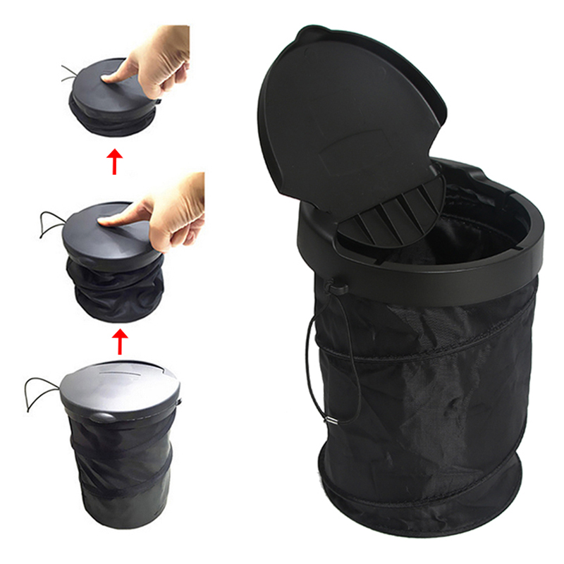 universal traveling portable car trash can collapsible pop up trash bin with cover garbage. Black Bedroom Furniture Sets. Home Design Ideas