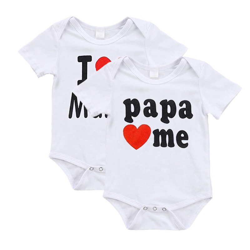 Newborn Baby Clothes Short Sleeve Girl Boy Clothing I Love Papa Love Me Design 100%Cotton   Rompers   de bebe Costumes White
