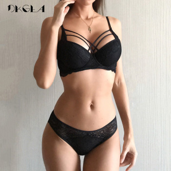 Classic Bandage Black Bra Set Push Up Brassiere Thick Cotton Underwear Set Sexy Bras Lace Embroidery Gather Women Lingerie Sets 1