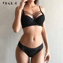 클래식 붕대 검은 브래지어 세트 브래지어 두꺼운 면화 속옷 세트를 밀어 섹시한 브래지어 레이스 자수 수집 여성 란제리 세트