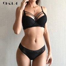 Clássico bandagem conjunto de sutiã preto push up sutiã de algodão grosso conjunto de roupa interior sexy sutiãs rendas bordado reunir conjuntos de lingerie feminina