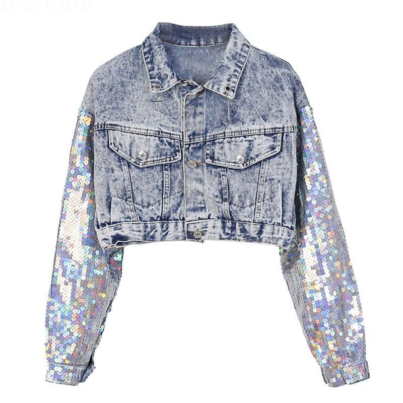 2019 Spring Autumn High waist Punk Sequins Sleeve Casual Denim   Jacket   Women Abrigos   Basic     Jackets   Chaqueta Mujer Casaco NZY38
