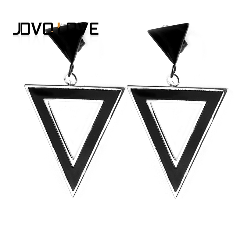 JOVO Elegant Female Women Black Triangle Earrings ...