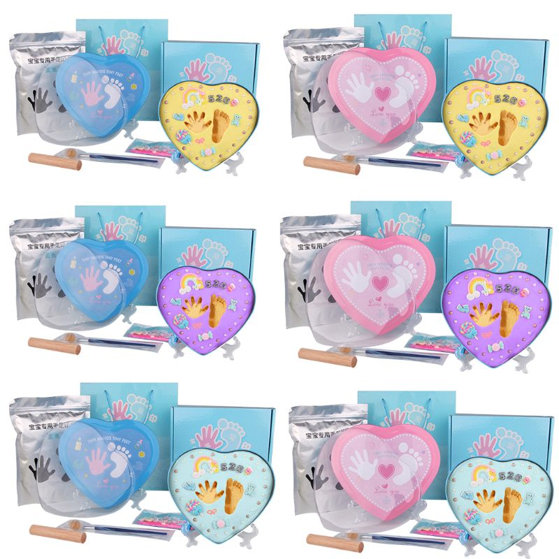 DIY 0-1 Year Baby Footprint Imprint Inkpad Kit Baby Souvenirs Mud Hundred Days Commemorate Clay Box Kids Growing Memory Gift