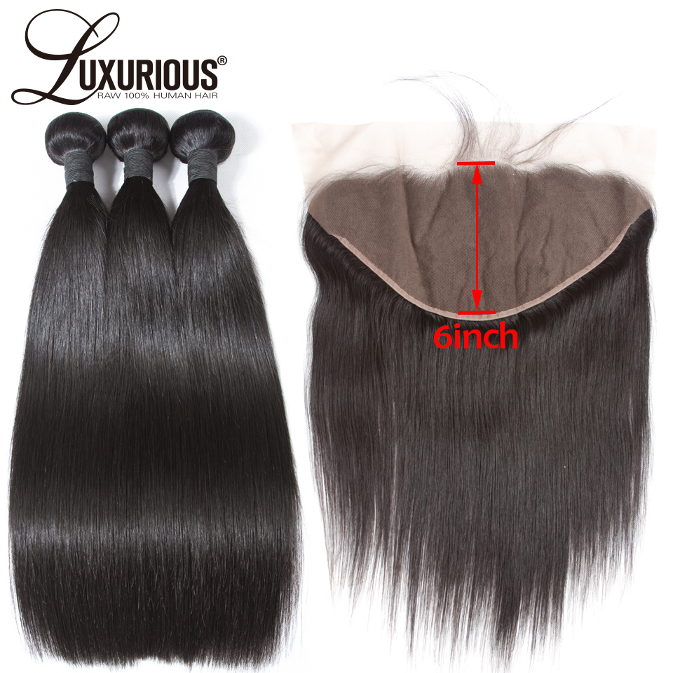 Straight Hair Bundles With Frontal Closure Remy Brazilian Human Hair Bundles With 13X6 Frontal Deep Parting 3 Hair Weave Bundles