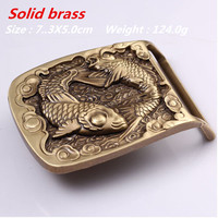 Retail 2016 New Style High Quality Solid Brass Cool 3D Fish Belt Buckle Fit 4cm Wide
