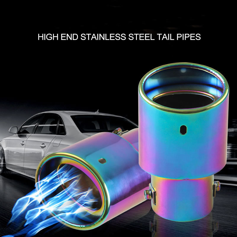 Exhaust pipe tail throat 2.5 inch stainless steel car muffler exhaust pipe blue tail throat exhaust system image
