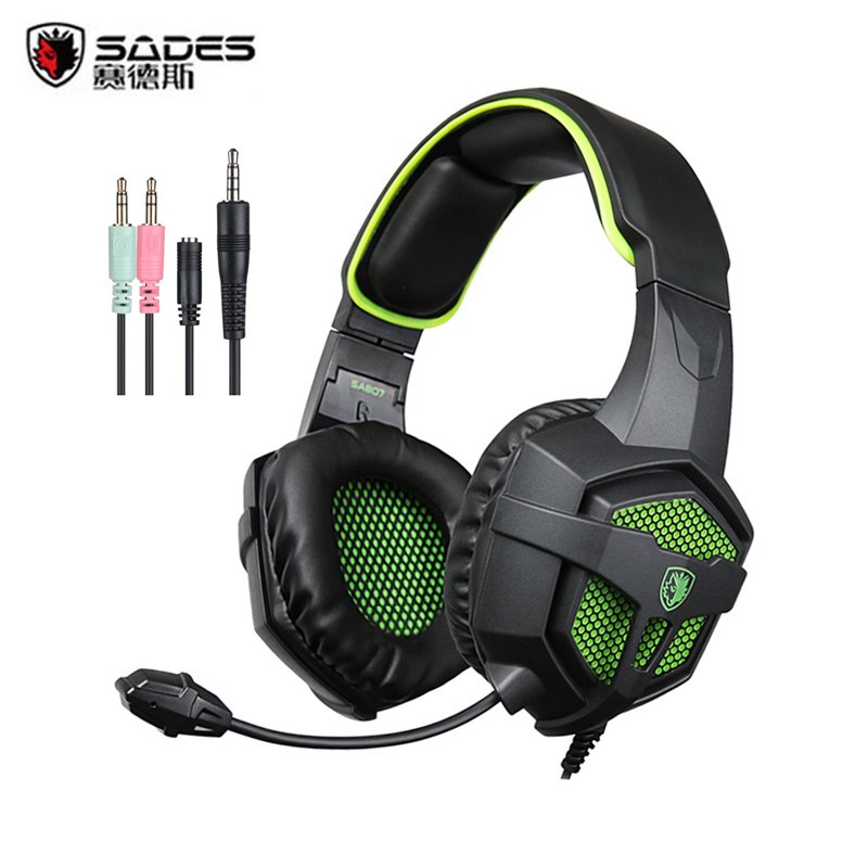 SADES SA807 Professional Gaming Headset 3.5mm Stereo Surround Gaming Headphones with Mic Noise Isolating for PS4 PC Smartphone each g8200 gaming headphone 7 1 surround usb vibration game headset headband earphone with mic led light for fone pc gamer ps4