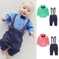 New Baby Boy Spring Gentleman Plaid Clothing sets Suit Newborn Baby Bow Tie Shirt + Suspender 2PC Suit Baby Christening Gowns