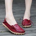 2017 Genuine Leather Women Flats Summer Moccasins  Soft Loafers Fashion Flats Women Shoes Casual Comfortable Driving Shoes Red