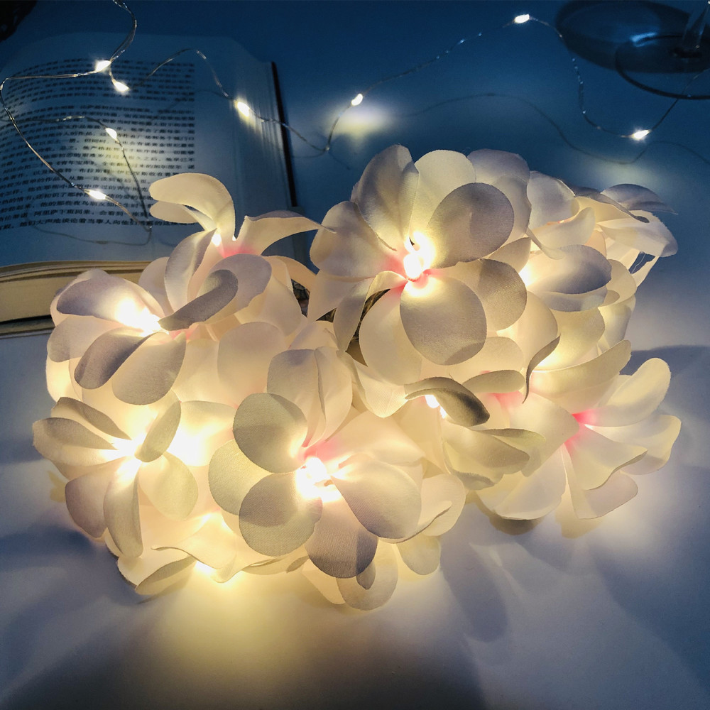 Hot LED Simulation Frangipani Light String USB Wedding Christmas Party Garden Festival Decoration Lantern decoration for home in Pendant Drop Ornaments from Home Garden