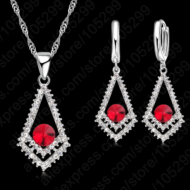 Top Sale CZ Crystal Rhombus Red Stones Pendant 925 Sterling Silver Necklace Earring For Woman Fine Jewelry Wedding Gift Sets
