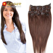 African American Remy Virgin Brazilian Clip In Human Hair Extensions Straight Brown Brazilian Human Hair Clip In Extensions