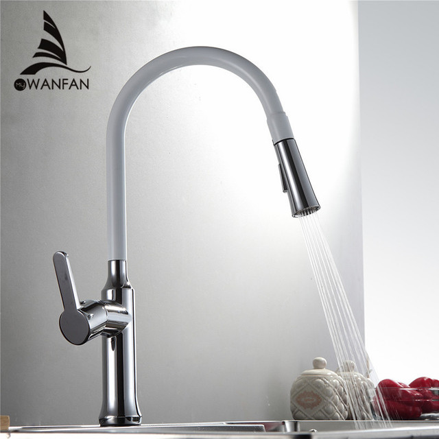 Kitchen Faucets Brass Silver Faucet for Kitchen Sink Pull Out Dual ...