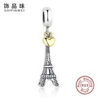 925 Sterling Silver PARIS EIFFEL TOWER PENDANT CHARM With 14K Gold Heart Charms Fit Pandora Bracelets