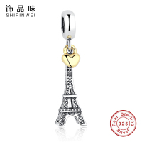 925 Sterling Silver PARIS EIFFEL TOWER PENDANT CHARM With 14K Gold Heart Charms Fit Pandora Bracelets