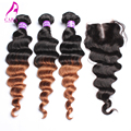 Rosa Hair Products Malaysian Virgin Hair Loose Wave Ombre Hair Extensions With Lace Closure 4Pcs Lot 6A Hair Bundle With Closure