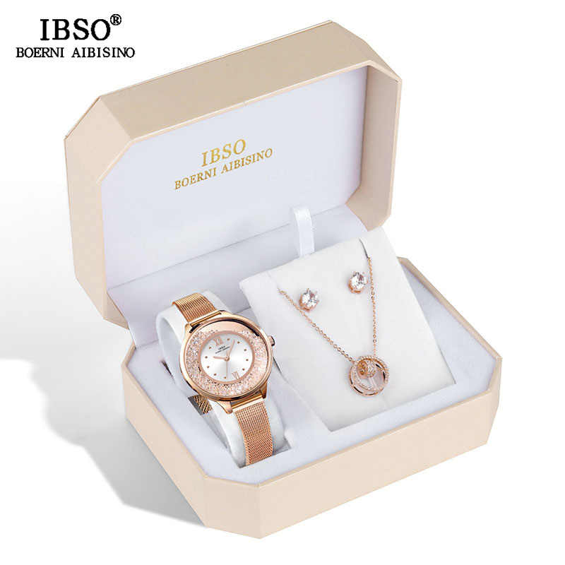 IBSO Marke frauen Quarzuhr Set Kristall Design Set Weibliche Schmuck Set Original Design Quarzuhr Ohrring Halskette Set