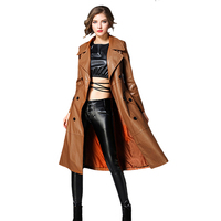 PU Outerwear Long Leather Trench Coat Women 2018 New Autumn Winter Leather Trench Coat Slim Female Long Coats Plus Size M 3XL
