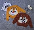 5 pçs/lote 1-4 Anos Meninas Camisola de Inverno Casual Crianças Esquilo Coelho Crianças Roupas Bebês Meninos Blusas de Malha Batwing manga