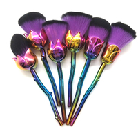 2017 New Makeup Brushes 6PCS Kit Multicolored Rose Flower Shape Make Up Brush Collection Gold Silver