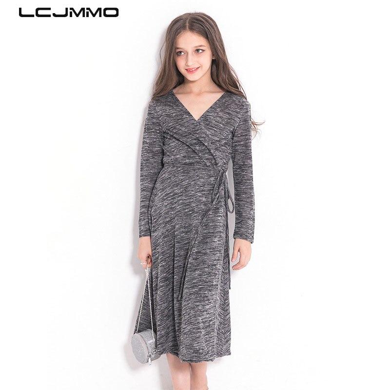 43d6b50644b LCJMMO Girls Dress Long Sleeves Gray Princess Party Kids Dresses Knitted  Winter Teen Girls Clothes Children