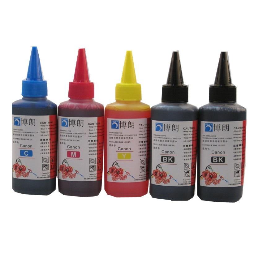 5 color Dye ink for CANON 100ML Refill Ink Kit 100ml bottle bulk Universal INK refillable ink cartridge ciss for CANON printer ciss bulk refillable ink cartridge for epson stylus pro 7700 7710 9700 9710 printer ink cartridge